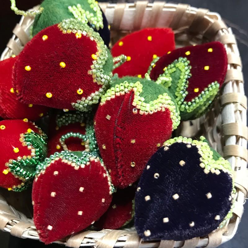 Mini Velvet Strawberry Pin Cushion by Penelope Minner